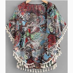 Tops - NWOT Colorful Paisley Tasseled Kimono